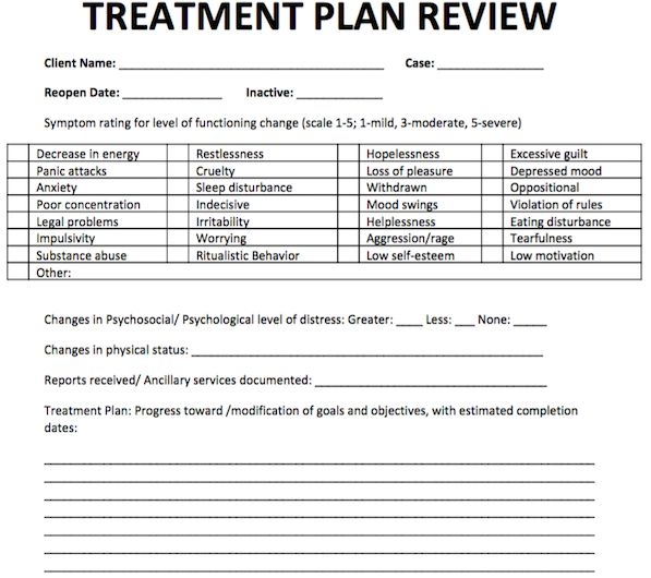 Treatment plan review free counseling note templates for Treatment plan template social work