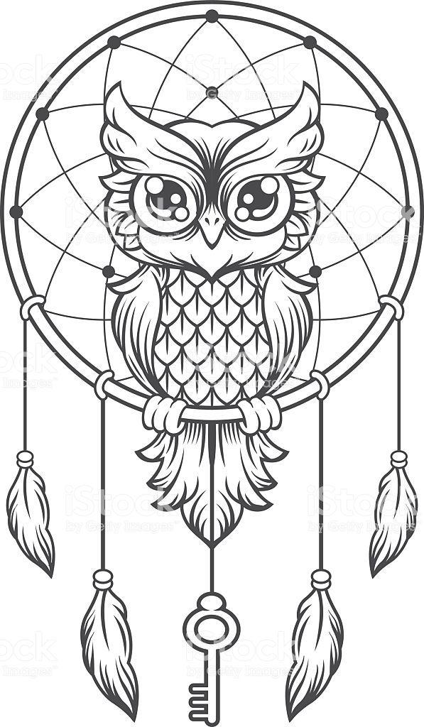 Dream Catcher Black And White Owl Vector Line Illustration