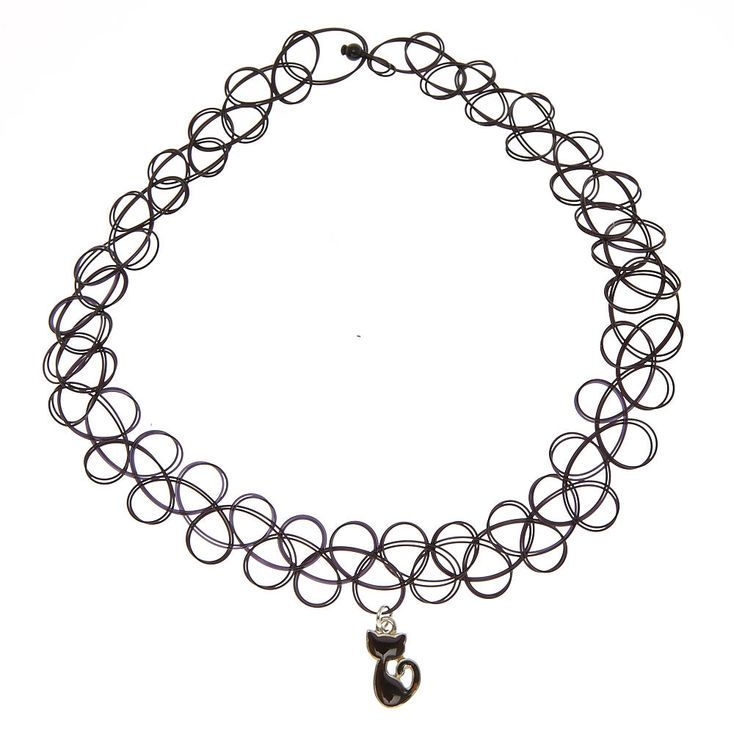 Cat Mood Pendant Black Tattoo Choker Necklace,