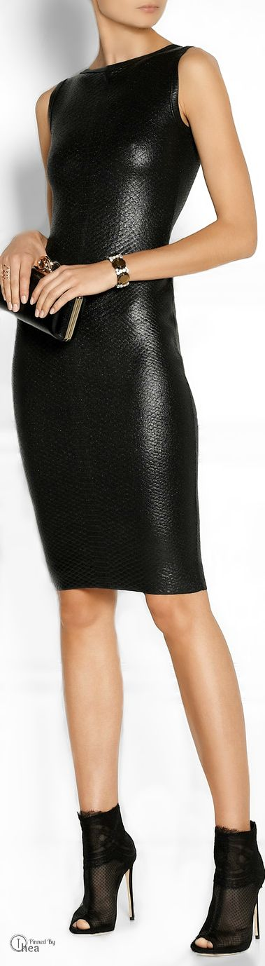 Gucci ●  Lacquered python-effect little black knock-out dress