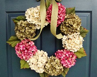 Hydrangea Door Wreath WREATHS Wreaths for by HomeHearthGarden