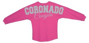 Coronado High School Glitter Oversized Jersey! We can customize the colors and names for your school!  You can buy it now at: http://sparklytees.com/store/coronado-oversized-jersey