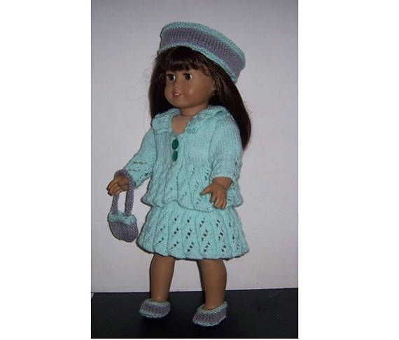 """American Girl PDF dolls clothes knitting pattern for 18"""" doll, also fits Our Generation,Gotz, and similar size dolls. Lace Outfit"""