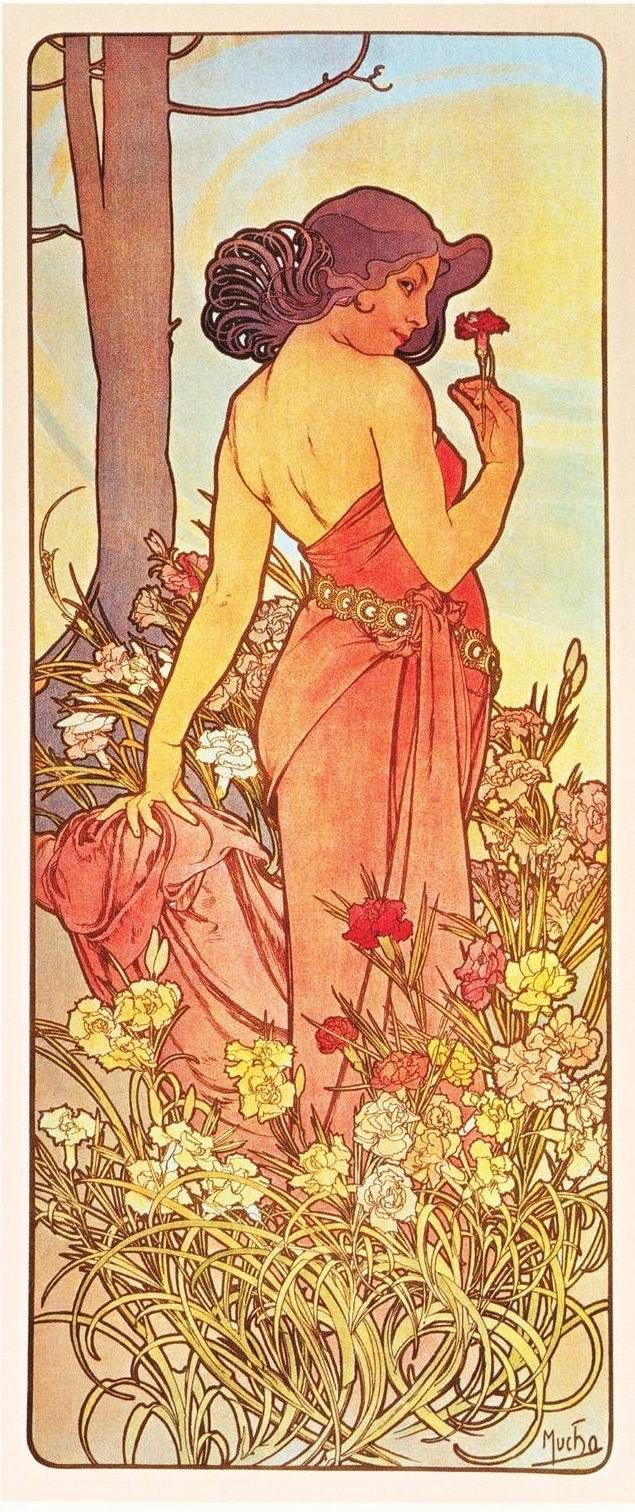 alphonse mucha flowers carnation alphonse mucha