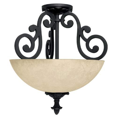 Capital Lighting Fixture Company Mediterranean Wrought Iron Semi-Flush Ceiling Light - Sale price $158; 2-100w bulbs; 15w x 18h