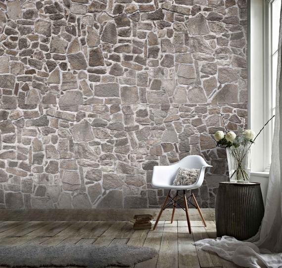 3d Dark Grey Retro Stone Wall Effect Wallpaper Mural Peel And Etsy In 2021 3d Stone Wall Stone Wall Stone Wall Art