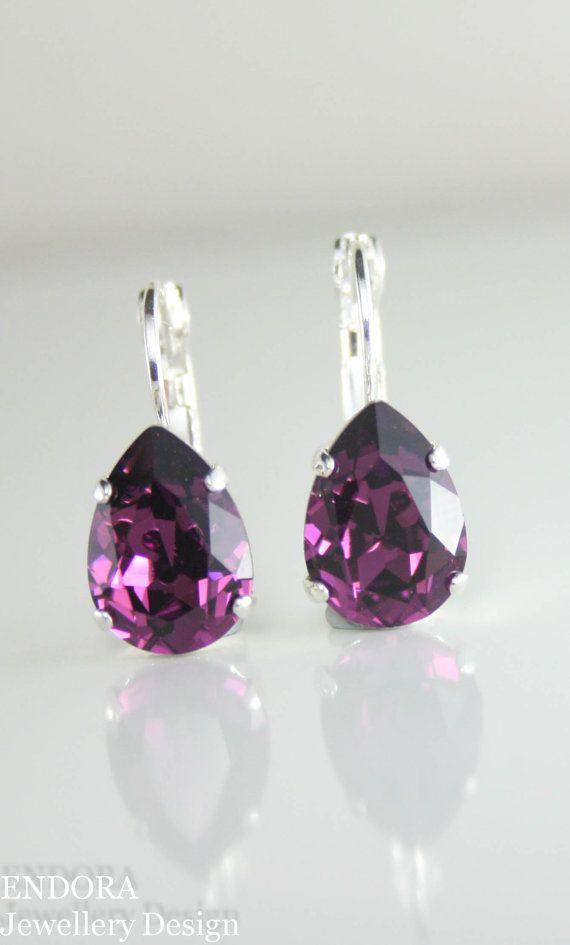 Swarovski amethyst teardrop earrings | nickel free - great for sensitive ears! Range of crystal colors and metal finishes available www.endorajewellery.etsy.com