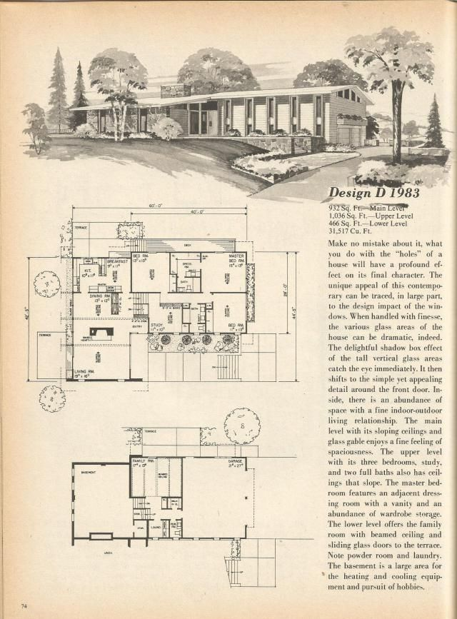 vintage house plans mid century homes 1970s homes