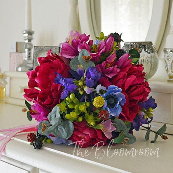 Jewel tones / Hot pink peony / Blue / Lime green / Wedding bouquet / Weddings / Decoration / Bouquet / Peony bouquet / Berries / Purple