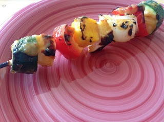 delish in a dish: Halloumi and Mango Kabobs