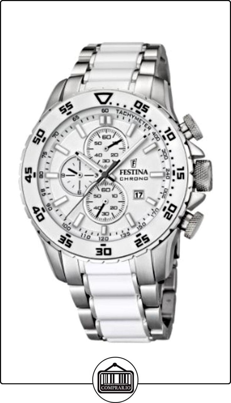 Festina F16628/1 - Reloj cronógrafo de cuarzo para hombre con correa de acero inoxidable, color blanco de  ✿ Relojes para hombre - (Gama media/alta) ✿