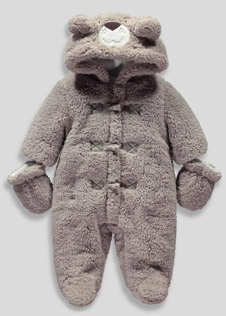 Boys Bear Snowsuit with Mittens (Newborn - 18mths ...