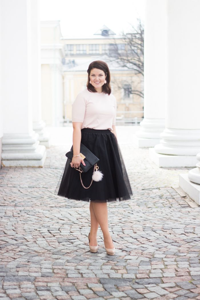 Black tulle skirt with pale pink details / www.livinupanotch.com