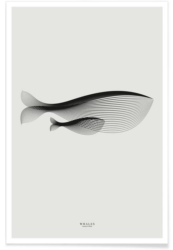 Animals in moiré   Whales en Affiche premium par Andrea Minini   JUNIQE
