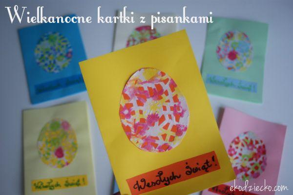 Wielkanocna kartka z pisanką z papierowej serwetki. diy Easter card with Easter egg made of paper napkins.