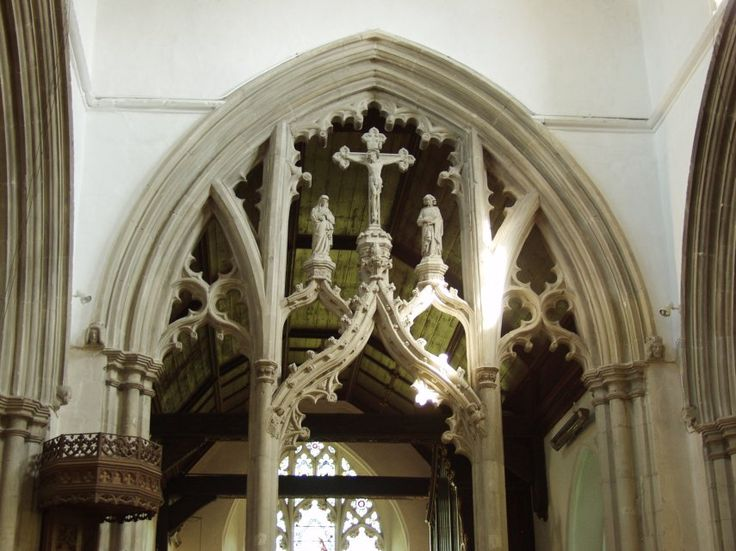 St. Mary's, Great Bardfield, Essex, rare medieval stone rood screen. The churches at Ilkeston in Derbyshire and North Leigh in Oxfordshire also possess stone screens.