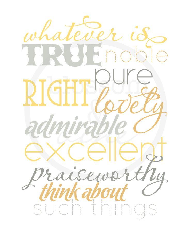Whatever Is True Philippians 4:8 Scripture Print