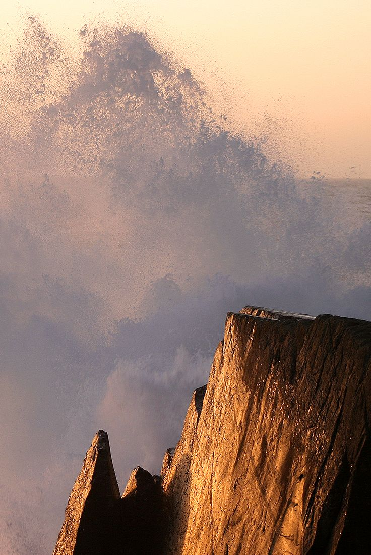Rompeolas, Las Terrazas, Los Molles, Chile  Crashing Waves, Pacific Coast, South America ocean wave photography at sunset.