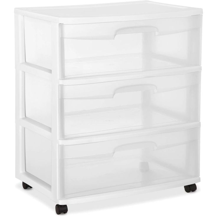 3 Drawer Wide Cart White Rolling Box Storage Cabinet See Through Durable Plastic #3DrawerWideCart