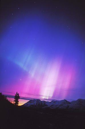 Aurora near Eureka, Alaska over the Chugach mountains