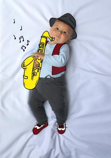 Ponchito, musico, music, saxo, saxofón, de mayor quiero ser, fotografía, infantil, bebé, creativa, ilustración, baby, photography, kid, illustration, photography, creative, dibujo, saxofonista