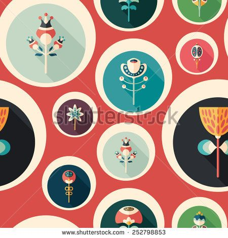Seamless pattern with colorful flowers on red background. #flowerpattern #vectorpattern #patterndesign #seamlesspattern