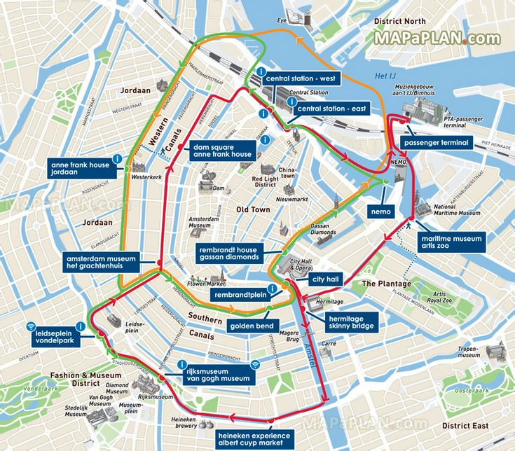 How Much Is A Red Light Ticket >> Canal Bus canal cruises with Red Orange Green lines Amsterdam top tourist attractions map ...