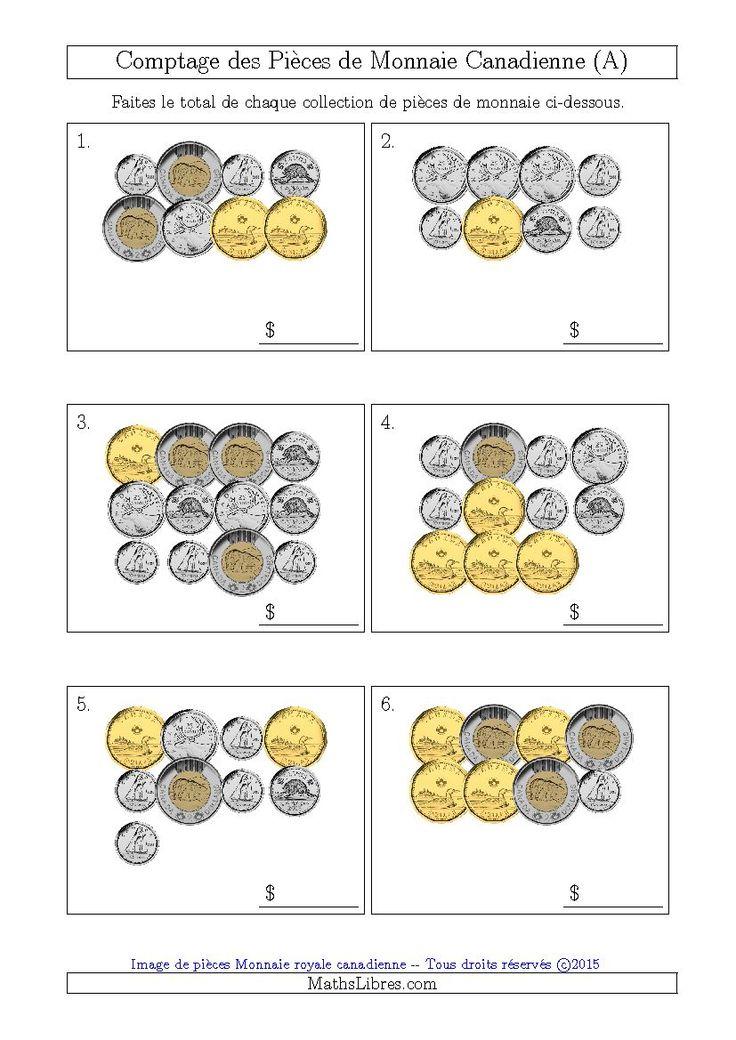 Comptage des Pièces de Monnaie Canadienne (A). Disponible le 26 Juin 2015.