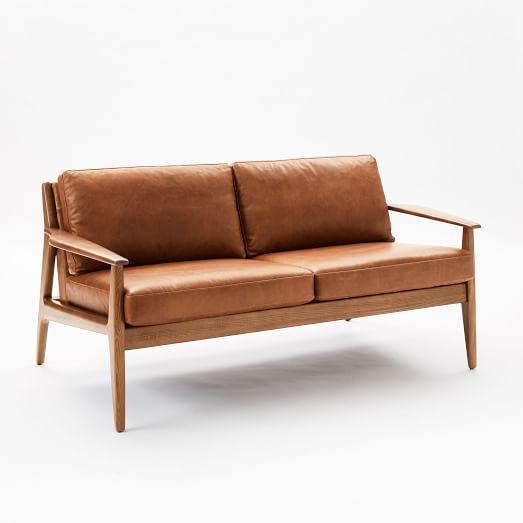 Mathias Mid-Century Wood Frame Leather Loveseat | west elm