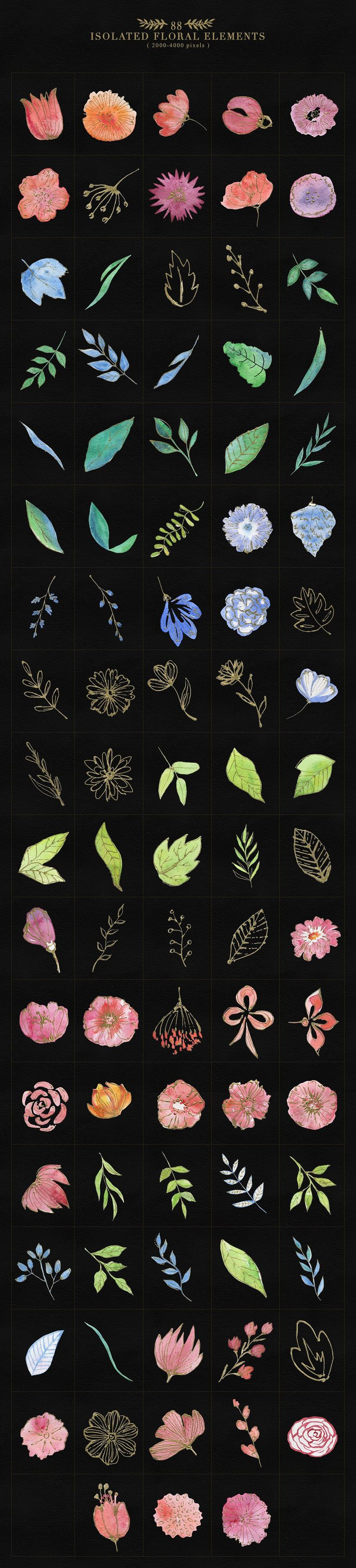 Collection of Floristic Cliparts | #floral #masterbundles
