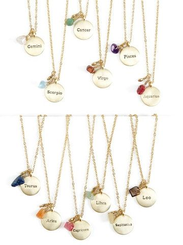 Zodiac Sign Horoscope Necklace. $24. These cute zodiac sign horoscope necklaces make great personal gifts! The necklace features a metal disc with the name of the sign on one side, and the constellation on the other, as well as a stone and bead charm. The gift card features flattering personality traits of each sign and the names of a few famous people who share the sign on the back.