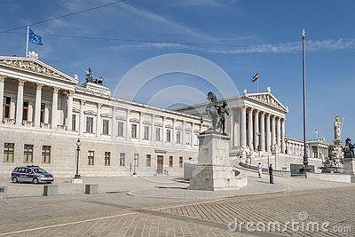 Vienna / Austria - July 20th 2014:  Austrian Parliament building front entrance