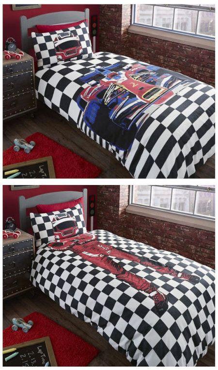 Black White Checkered Race Car Bedding Twin or Full Duvet Cover Set Reversible Formula 1 Driver