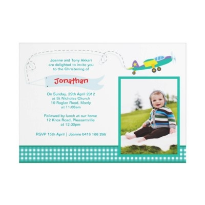 Vintage Planes Christening Invitations by Inviting Kids