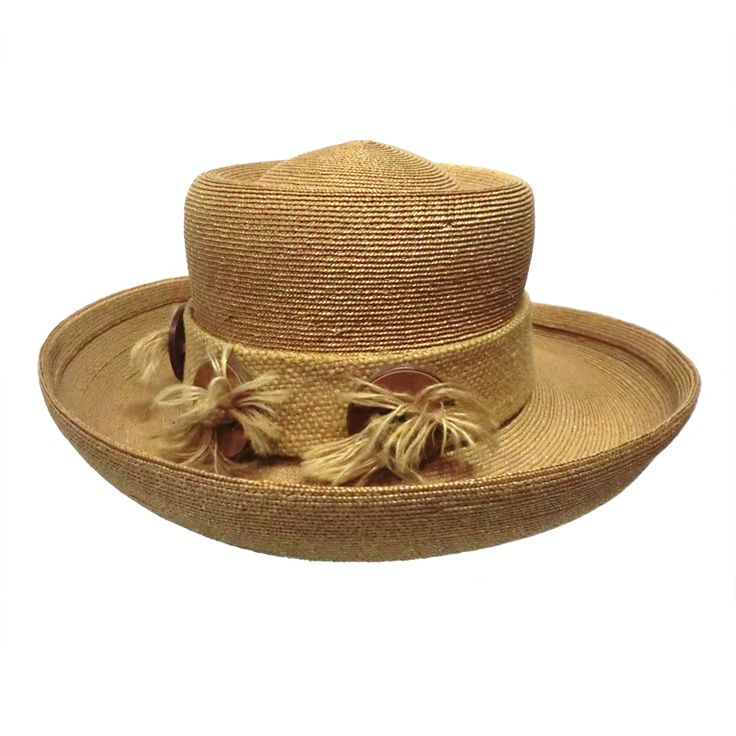 Otto Lucas 60s Straw and Burlap Hat | From a collection of rare vintage hats at https://www.1stdibs.com/fashion/accessories/hats/