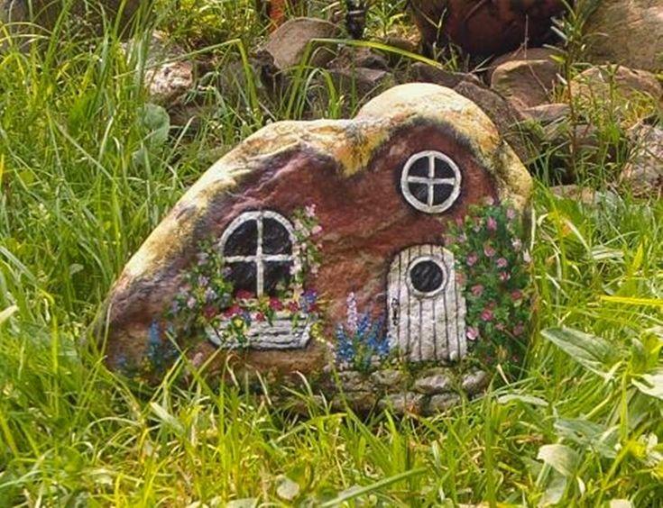 Miniature Garden Cottage Hand Painted Rock