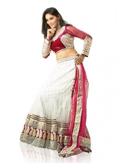 White Net and Brocade Lehenga Choli