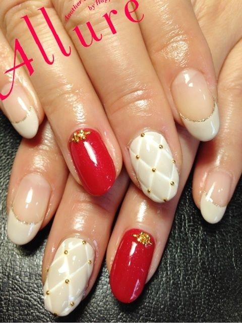 #nail #beta #french #studs #quilting #fall #winter #red #white #beige