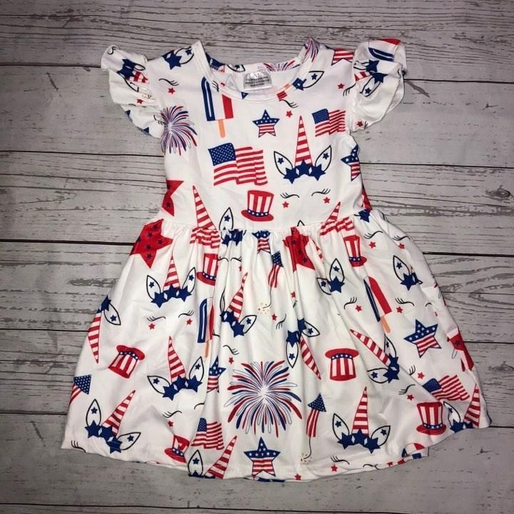 Toddler Baby Girl Independence Day Star and Stripe Print Patriotic Dress Clothes