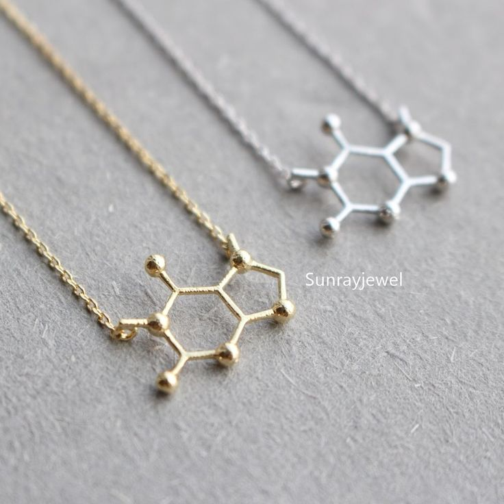 minimal best molecule images geometric necklace simple caffeine earrings jewelry structure