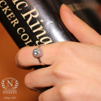 925 Ayar Gümüş Mavi Topaz Taşlı Desenli İnce Yüzük