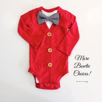 Christmas Cardigan for Baby Boy. Bowtie cardigan for Newborn Boys. Infant Boy Christmas Outfit. Christmas Clothes Boys.