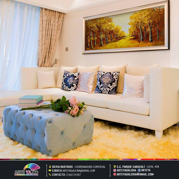 Un cuadro con paisajismo puede ser el estilo mas adecuado para crear un espacio de calma y tranquilidad. #ArteYa Obra: Bosque dorado Autor: Hernández Medidas: 160 cm x 70 cm