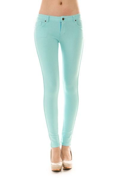 These super comfortable mint jeggings feature the look of jeans, but with the comfort of leggings!