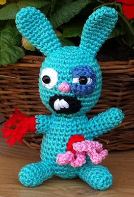Zombie bunny. this little guy made me laugh so hard. its hilarious. but theres no pattern. oh well i can probably wing it.