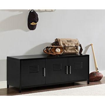 Black Metal Locker Storage Bench