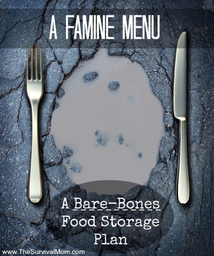 A famine menu -- A Bare-Bones Food Storage Plan   www.TheSurvivalMom.com