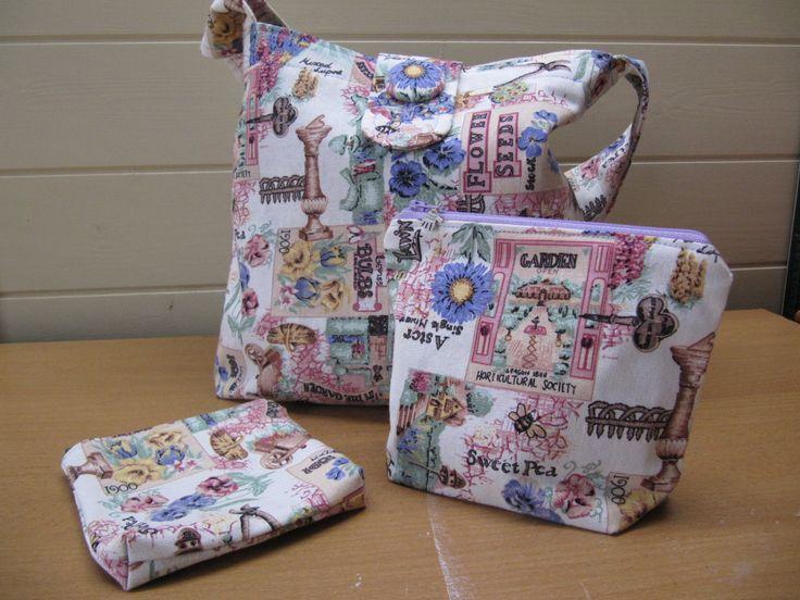 Cottage Garden Design Shoulder Bag Set, Hobo Bag, Slouch Bag, Makeup Bag, Coin Bag, Travel Bag, Vintage Gardens Style, Small Shopper Bag by BobbyandMeSew on Etsy