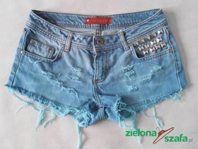 zielonaszafa.pl zielona szafa shorts ombre spodenki szorty farbowane cieniowane z ćwiekami kolorowe napy dżety dżinsowe jeansy krótkie spring work diy star blue sale levis lee levi's mustang hugo