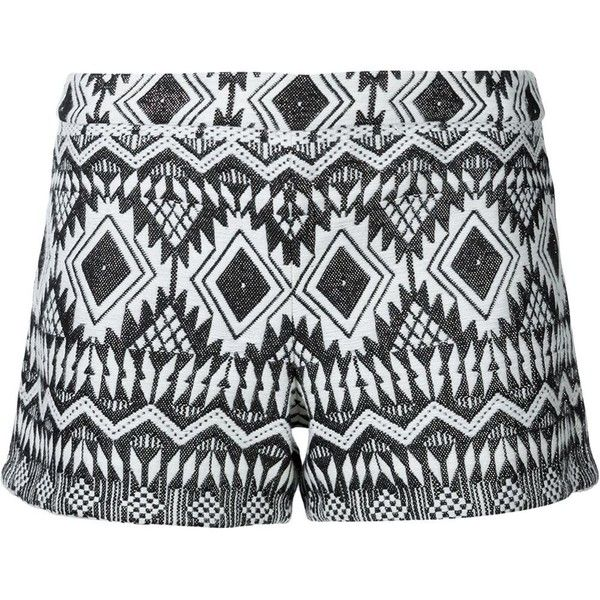 Alice+Olivia aztec patterned shorts ($215) ❤ liked on Polyvore featuring shorts, bottoms, white, aztec shorts, aztec print shorts, white shorts and alice olivia shorts
